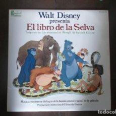 Discos de vinilo: EL LIBRO DE LA SELVA, WALT DISNEY INSPIRADO EN LAS AVENTURAS DE MOWGLI DE RUDYARD KIPLING,1967. Lote 186403227