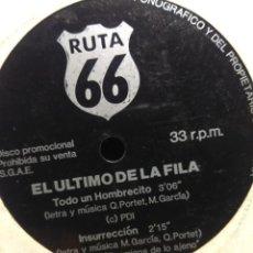 Discos de vinil: SG EL ULTIMO DE LA FILA ( FLEXIDISC EDITADO POR LA REVISTA RUTA 66 ) 2 CANCIONES . Lote 186433701