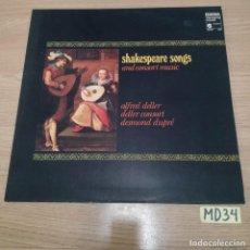 Discos de vinilo: SHAKESPEARE SONGS. Lote 186464885
