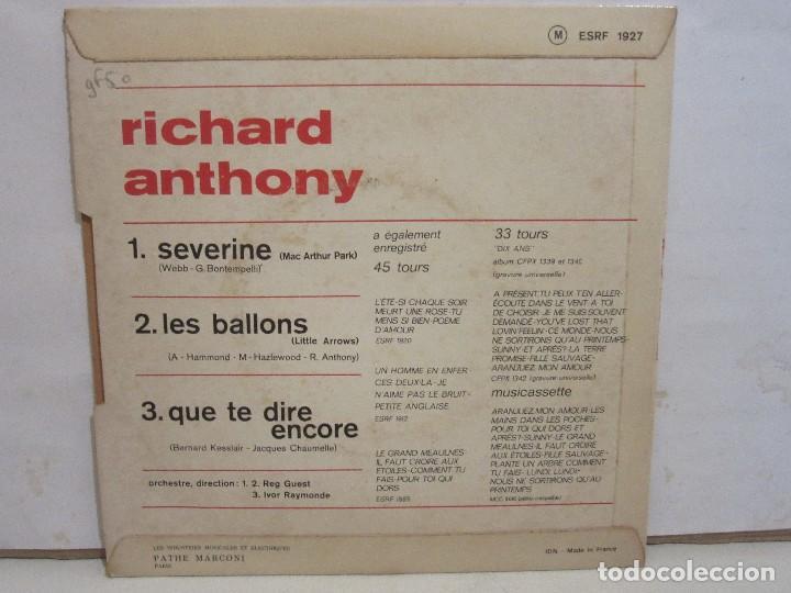Discos de vinilo: Richard Anthony - Les Ballons / Severine +1 - EP - 1968 - Francia - VG/VG - Foto 2 - 186782606