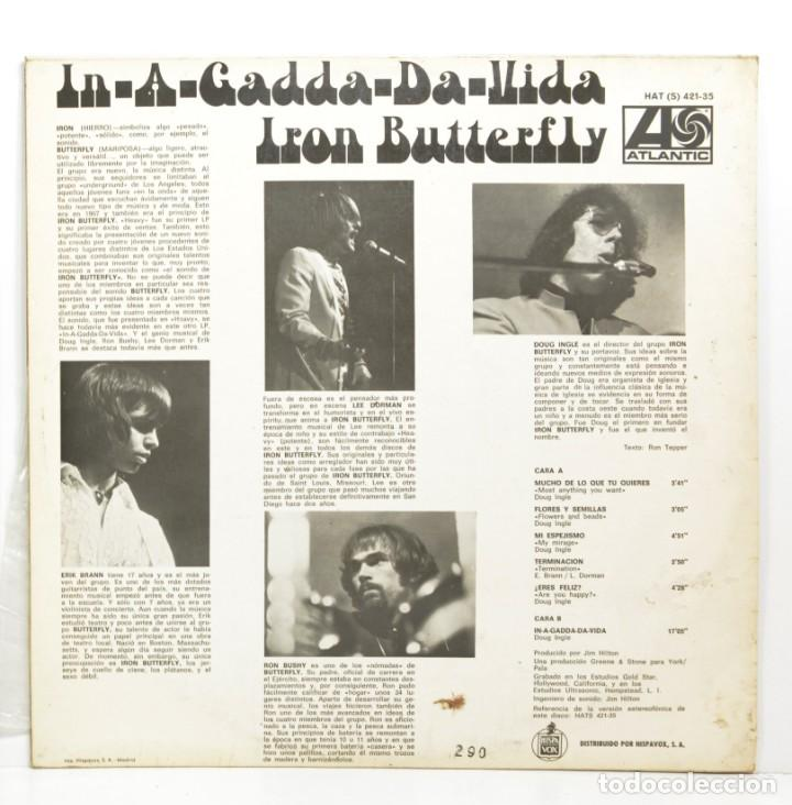 Discos de vinilo: LP IRON BUTTERFLY - IN A GADDA DA VIDA - ATLANTIC - HISPAVOX - MADRID 1977 - Foto 2 - 187081152