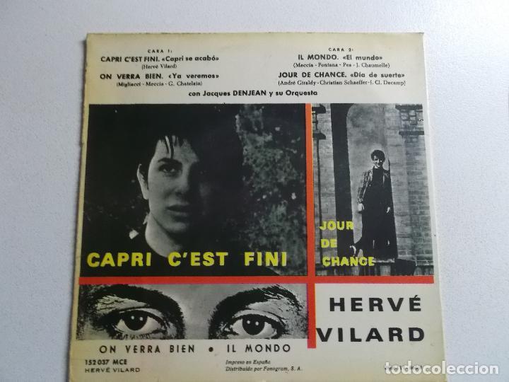 Discos de vinilo: HERVÉ VILARD SINGLE VINILO 1965 CAPRI C´EST FINI ORQUESTA DENJEAN - Foto 4 - 187090813