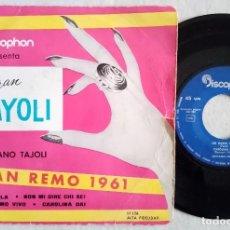 Discos de vinilo: LUCIANO TAJOLI - EL GRAN TAYOLI - AL DI LA / NON MI DIRE CHI SEI / UN UOMO VIVO / CAROLINA DAY - EP . Lote 187108281