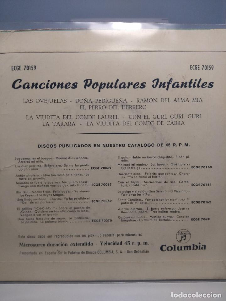 Discos de vinilo: EP CANCIONES POPULARES INFANTILES : CON EL GURI GURI, LAS OVEJUELAS, DOÑA PEDIGUEÑA, LA TARARA, ETC - Foto 2 - 187123478