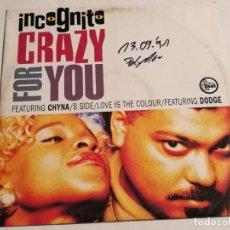 Discos de vinilo: INCOGNITO - CRAZY FOR YOU - 1991. Lote 187125561