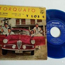 Discos de vinilo: EP-TORQUATO Y LOS 4-QIEREME SIEMPRE-1960-SPAIN-VINILO AZUL-. Lote 187158743
