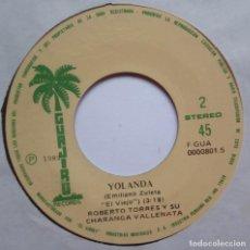 Discos de vinilo: ROBERTO TORRES Y SU CHARANGA VALLENATA - CABALLO VIEJO / YOLANDA - SINGLE PERUANO 1982 - GUAJIRO. Lote 187191353