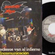 Discos de vinilo: BARON ROJO - LOS ROCKEROS VAN AL INFIERNO - SINGLE DE VINILO PROMOCIONAL. Lote 187211378