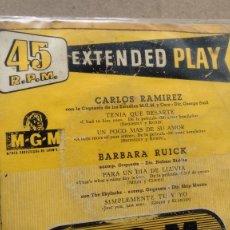 Discos de vinilo: E P ( VINILO) DE CARLOS RAMIREZ-BARBARA RUICK AÑOS 50. Lote 187246205