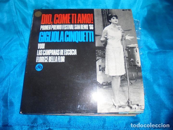 GIGLIOLA CINQUETTI. DIO, COME TI AMO¡ + E. EP. HISPAVOX, 1966 . SPAIN. IMPECABLE (#) (Música - Discos de Vinilo - EPs - Canción Francesa e Italiana)