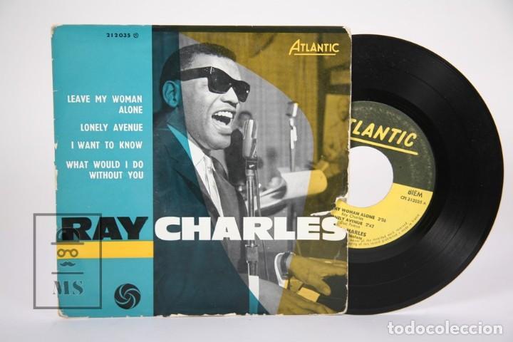 DISCO EP DE VINILO - RAY CHARLES / LEAVE MY WOMAN, ALONE... - ATLANTIC - FRANCIA (Música - Discos de Vinilo - EPs - Jazz, Jazz-Rock, Blues y R&B)