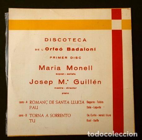 Discos de vinilo: ORFEO BADALONI (SINGLE 1966) MARIA MONELL (RARO) BADALONA - ROMANÇ DE SANTA LLUCIA - CORO ORFEON - Foto 2 - 187426221
