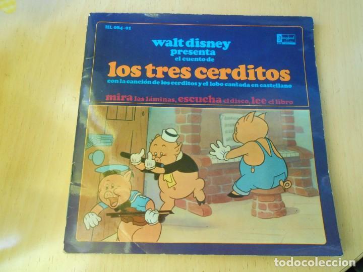 WALT DISNEY - LOS TRES CERDITOS -, EP, CUENTO EN CASTELLANO + 1, AÑO 1967 (Música - Discos de Vinilo - EPs - Música Infantil)