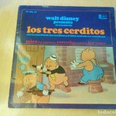 Discos de vinilo: WALT DISNEY - LOS TRES CERDITOS -, EP, CUENTO EN CASTELLANO + 1, AÑO 1967. Lote 187437312