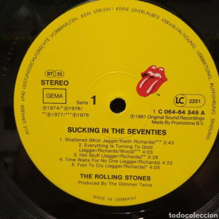 Discos de vinilo: The Rolling Stones - Sucking The Seventies 1981 Ed Alemana - Foto 3 - 187466393