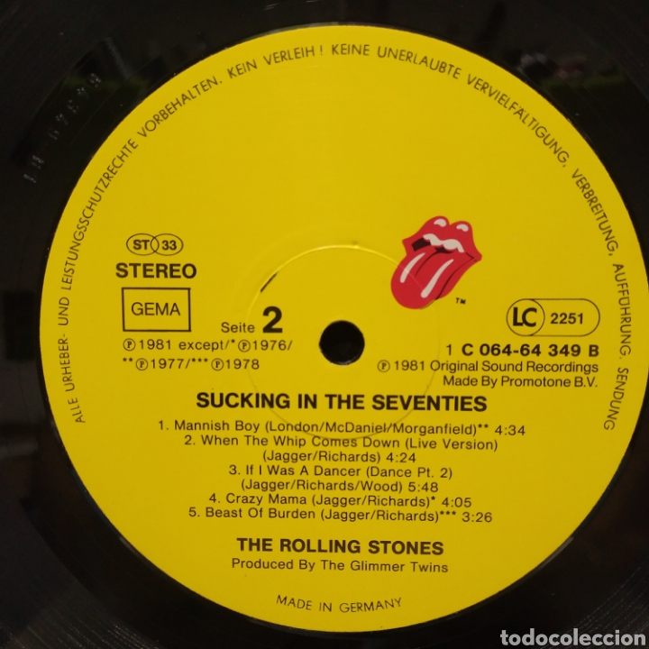 Discos de vinilo: The Rolling Stones - Sucking The Seventies 1981 Ed Alemana - Foto 4 - 187466393