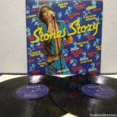 Discos de vinilo: THE ROLLING STONES - STONES STORY 1978 ED HOLANDESA GATEFOLD LIBRETO CON PÓSTER CENTRAL. Lote 187467415