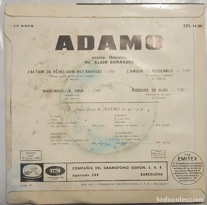 Discos de vinilo: EP / ADAMO / J'AI TANT REVES DANS MES BAGAGES +3 / 1968 - Foto 2 - 187489521