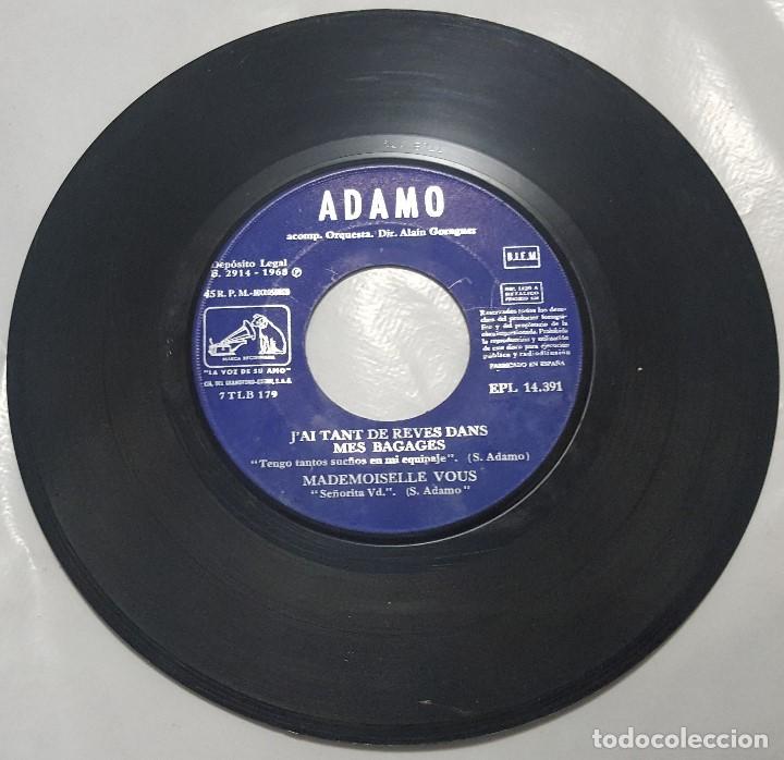 Discos de vinilo: EP / ADAMO / J'AI TANT REVES DANS MES BAGAGES +3 / 1968 - Foto 3 - 187489521