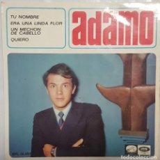 Discos de vinilo: EP / ADAMO / TU NOMBRE - ERA UN ALINDA FLOR - UN MECHON DE TU CABELLO - QUIERO / 1966. Lote 187490130