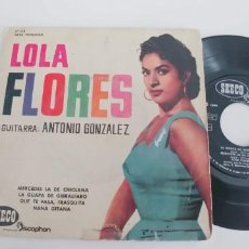 Discos de vinilo: LOLA FLORES-EP MERCEDES LA DE CHICLANA +3. Lote 187491726