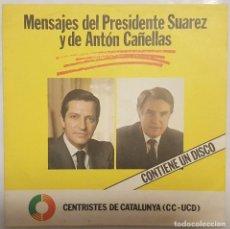 Discos de vinilo: FLEXI-DISC / CENTRISTES DE CATALUNYA CC-UCD /MENSAJES DEL PRESIDENTE SUAREZ Y DE ANTON CAÑELLAS/1980. Lote 187510218
