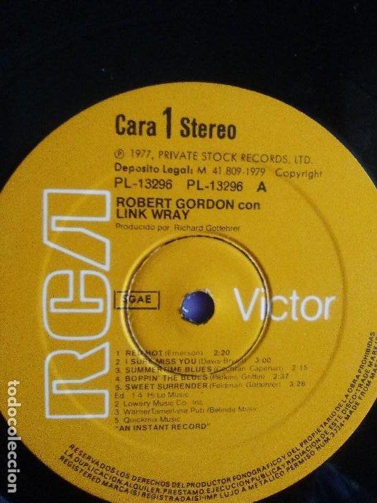 Discos de vinilo: LP DE ROBERT GORDON WITH LINK WRAY GUITAR. RED HOT.SELLO RCA PL 13296.SPAIN.1980. - Foto 10 - 187520651