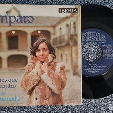 Discos de vinilo: AMPARO. SINGLE. CANTARES QUE LLEVAS DENTRO / NADIE ES MÁS QUE NADIE. AÑO 1.976. DISCO MUY RARO.. Lote 187592142