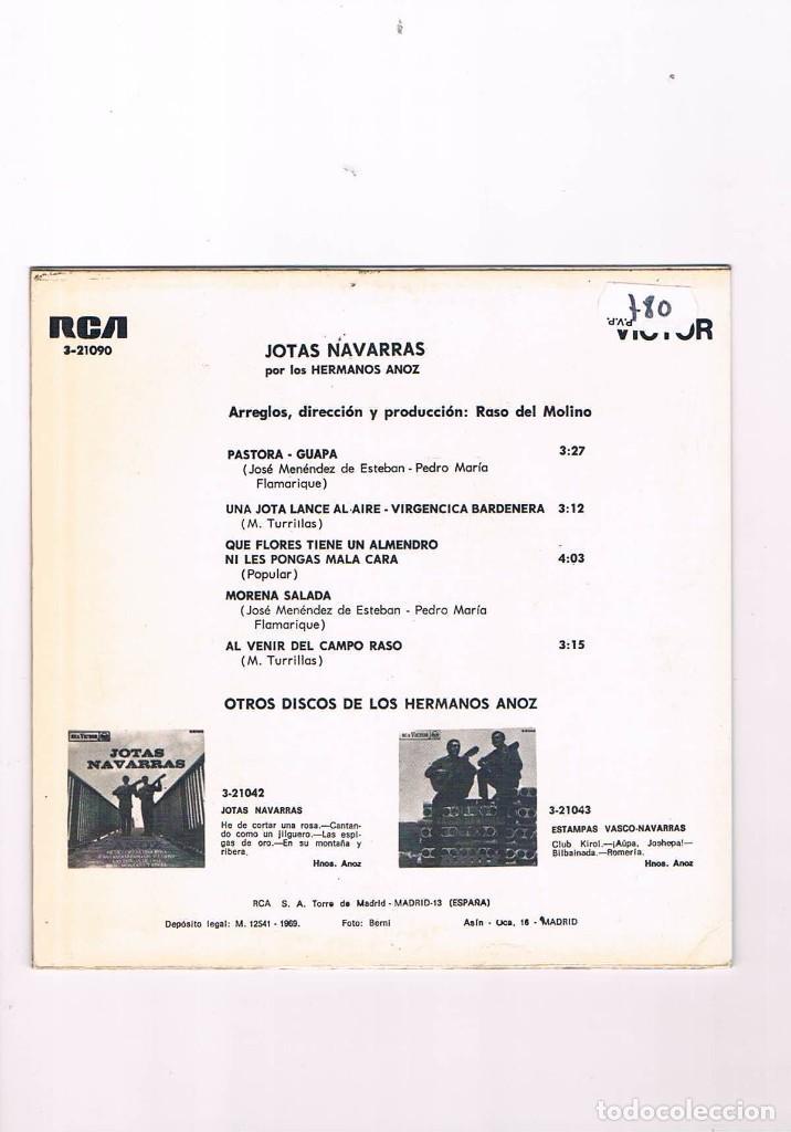 Discos de vinilo: DISCO VINILO SINGLE JOTAS NAVARRAS POR LOS HERMANOS ANOZ PASTORA GUAPA 1969 - Foto 2 - 187626463