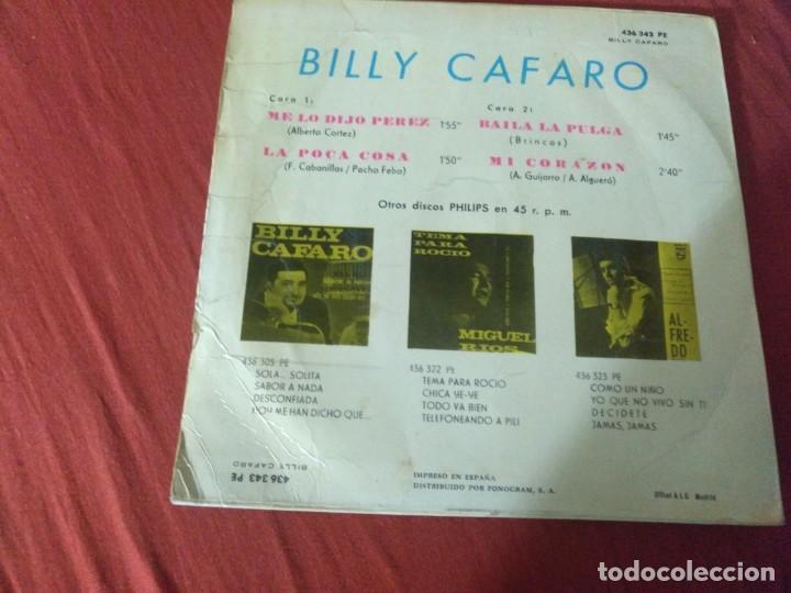 Discos de vinilo: BILLY CAFARO ME LO DIJO PEREZ - Foto 2 - 187653581