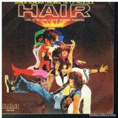 Dischi in vinile: HAIR (BANDA SONORA) - EASY TO BE HARD / GOOD MORNING STARSHINE - SINGLE 1979. Lote 187949873