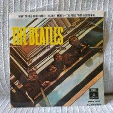 Discos de vinilo: THE BEATLES - I WANT TO HOLD YOUR HAND + 3 RARO EP SPAIN 1964 DOBLE REFERENCIA EN EXCELENTE ESTADO . Lote 188293727
