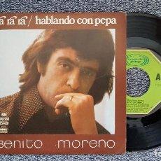 Discos de vinilo: BENITO MORENO. SINGLE - RA RA RA / HABLANDO CON PEPA. AÑO 1.976. EDITADO POR MOVIEPLAY.. Lote 188472335