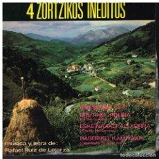 Discos de vinilo: 4 ZORTZIKOS INEDITOS - EP 1967 - BUEN ESTADO - PEQUEÑO LIBRETO CON LAS LETRAS - EUSKERA. Lote 188562736