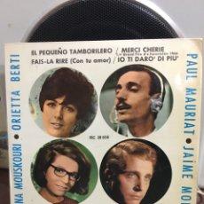 Discos de vinilo: MOUSKOURI,P.BERTI,P.MAURIAT,J.MOREY-EL PEQUEÑO TAMBORILERO-1966-NUEVO!!!MUY RARO. Lote 188599313