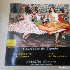 Discos de vinilo: ANTOÑITA ROMERO, EP, EL BEREBITO + 3, AÑO 1959. Lote 188724746