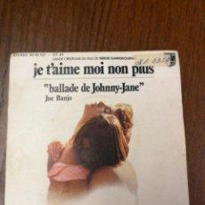 Discos de vinilo: DISCO SINGLE PROMOCIONAL JE T'AIME MOI NON PLUS, JOE.BANJO 1976 . Lote 188748270