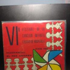 Discos de vinilo: EP VI FESTIVAL DE LA CANCION INFANTIL DE L' HOSPITALET DE LLOBREGAT ( 1971 ). Lote 189178936