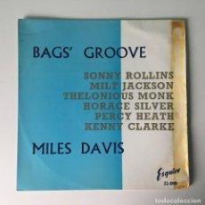 Discos de vinilo: MILES DAVIS AND THE MODERN JAZZ GIANTS - BAGS GROOVE, UK 1959 ESQUIRE. Lote 189224847