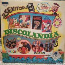 Discos de vinilo: DISCOLANDIA - PARCHIS + GRUPO NINS + PITUFOS + REGALIZ + GAY, MILIKI, FOFITO Y MILIKITO.. LP DOBLE. Lote 189232101