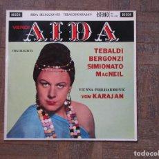 Discos de vinilo: AIDA. SELECCION. TEBALDI, BERGONZI, SIMIONATO, MCNEIL. FILARMÓNICA VIENA. KARAJAN. DECCA SXKL 2242.. Lote 189321971