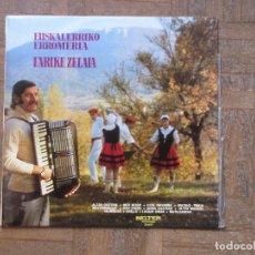 Discos de vinilo: ENRIKE ZELAIA. EUSKALERRIKO ERROMERIA. BELTER, 22.627. ESPAÑA, 1975. FUNDA VG. DISCO EX.. Lote 189341395