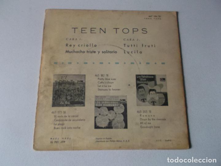 Discos de vinilo: LOS TEEN TOPS - REY CRIOLLO / MUCHACHO TRISTE Y SOLITARIO / TUTTI FRUTI / LUCILA (EP 1961) - Foto 2 - 189410826