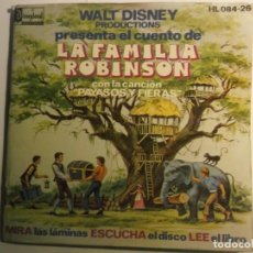 Discos de vinilo: LA FAMILIA ROBINSON-WALT DISNEY-CUENTO DISCO-SE REGALA 2 VINILOS SUELTOS BAMBI Y LIBRO DE LA SELVA. Lote 189433575