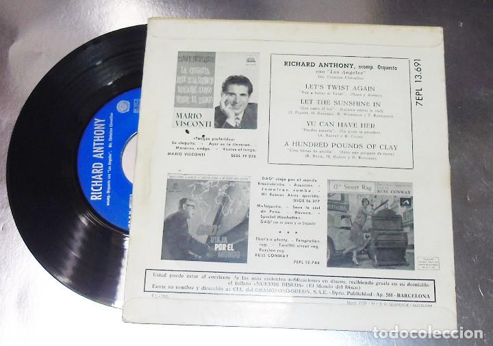 Discos de vinilo: RICHARD ANTHONY --- LET´S TWIST AGAIN / YOU CAN HAVE HER +2 EDICION ESPAÑOLA 1961 - Foto 2 - 189434986