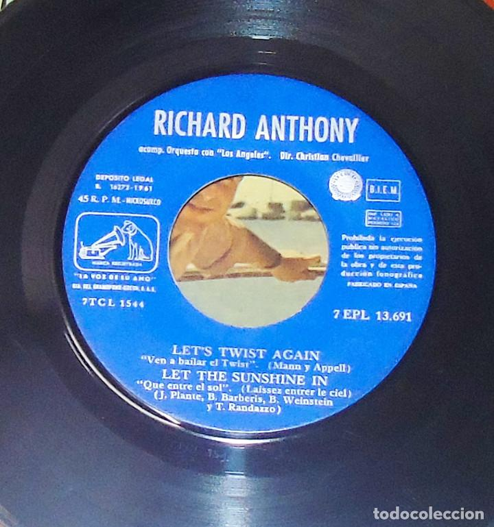 Discos de vinilo: RICHARD ANTHONY --- LET´S TWIST AGAIN / YOU CAN HAVE HER +2 EDICION ESPAÑOLA 1961 - Foto 4 - 189434986