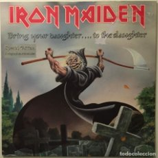 Discos de vinilo: IRON MAIDEN – BRING YOUR DAUGHTER... TO THE SLAUGHTER - I'M A MOVER UK 1990 EMI. Lote 189466838