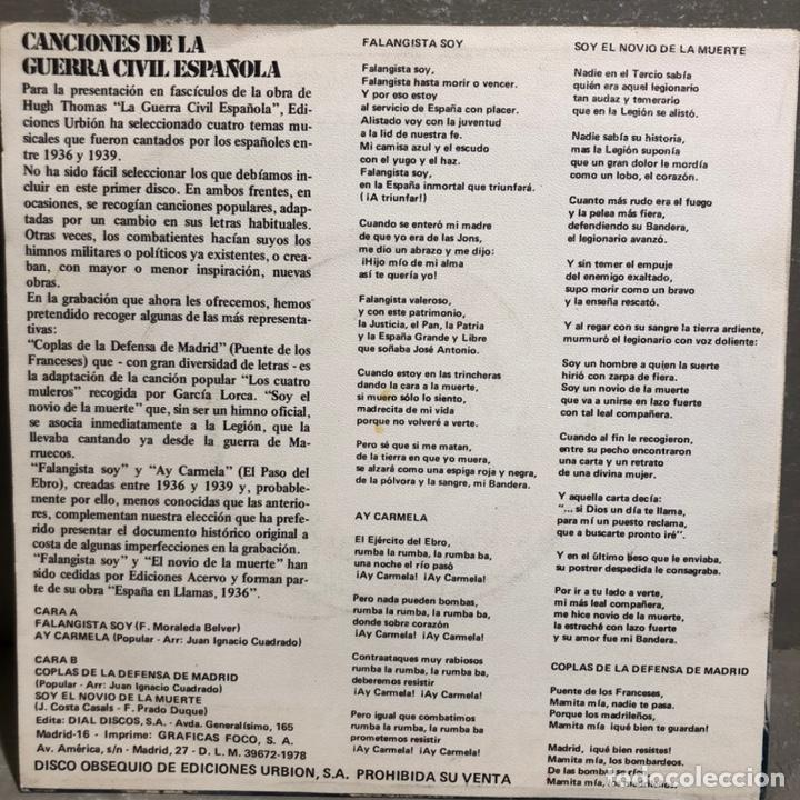 Discos de vinilo: SINGLE CANCIONES DE LA GUERRA CIVIL ESPAÑOLA - DIAL DISCOS 1978 - Foto 2 - 189475235
