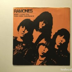 Discos de vinilo: RAMONES ‎– BABY I LOVE YOU - HIGH RISK INSURANCE UK 1980 SIRE. Lote 189534248