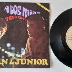 Discos de vinilo: JUAN & JUNIOR. A DOS NIÑAS. TRES DIAS. NOVOLA. ESPAÑA. Lote 189565667